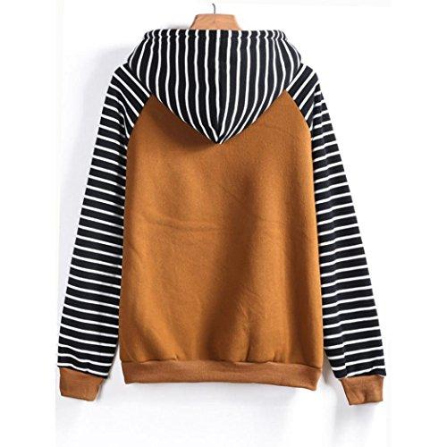moonuy Femmes capuche manches longues rayé Imprimer Casual capuche Sweat-shirt O-Neck, Automne 2017, Sweat-shirt de mode d'hiver Jaune