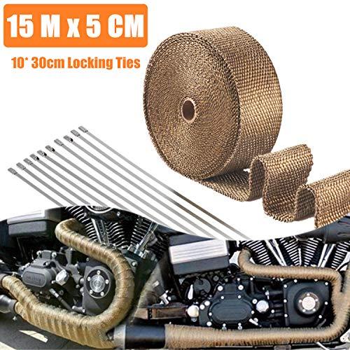 STARPIA 15M x 5 CM Hitzeschutzband Basaltfaser, Titanium Farbe Auspuffband mit 10 Edelstahl Kabelbinder für Fächerkrümmer Thermoband Krümmerband Auto Motorrad Auspuff (Titanium)