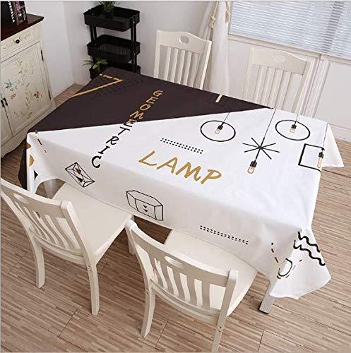 QWEASDZX Tischdecke Baumwolle und Leinen Muster Schlichte Persönlichkeit Leichte und atmungsaktive Antifouling Ölbeständige rechteckige Tischdecke Geeignet für den Innen- und Außenbereich 120x180 cm - Leder-stamm-tisch