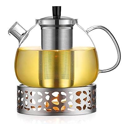 Ecooe 1.5L Théière en verre avec le chauffage Théière, théière avec filtre en acier inoxydable, Acier inoxydable le chauffage Théière