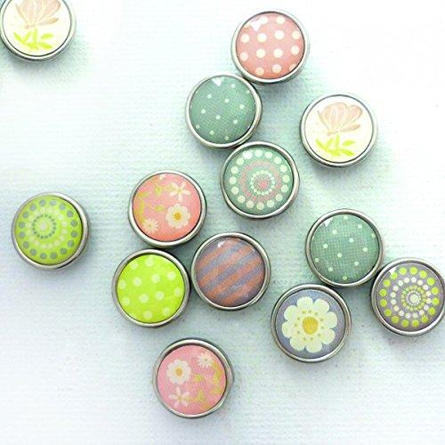 12 runde Magnete zum Basteln - Epoxy farbig Frühlingsmotive Ø 10mm -