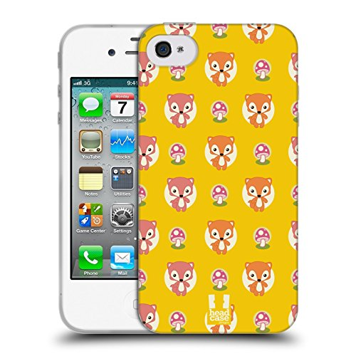 Head Case Designs Mouton Petits Animaux - Motifs Étui Coque en Gel molle pour Apple iPhone 4 / 4S Renard