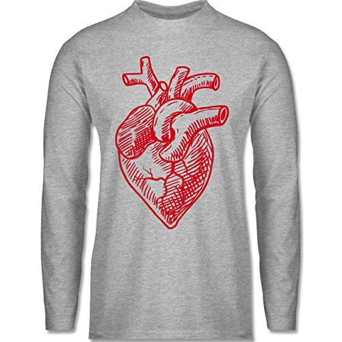 Shirtracer Statement Shirts - Organisches Herz Motiv - Herren Langarmshirt Grau Meliert