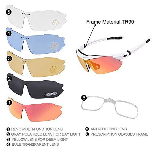 Yiph-Sunglass Sonnenbrillen Mode Tr90 Rahmen Polarisierte Sport Sonnenbrille Mit 5 stücke Wechselobjektiven Für Männer Frauen Radfahren Baseball Laufen Angeln Fahren Golf (Farbe : Weiß)