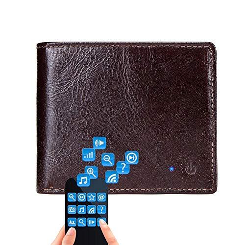 Monedero inteligente Bluetooth de cuero de los hombres cartera corta Bluetooth GPS Finder anti-pérdida de la billetera antirrobo hombres doble-Fold Wallet apoyo Android y iOS