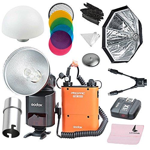 Godox AD360II-C TTL Leistungsstarke Speedlite Flash + PB960 Netzteil Orange + X1C TTL Sender für Canon EOS Kamera + DB-02 Y Kabel + AD-S15 Blitzabdeckung + AD-S7 Softbox + AD-S17 Softball + AD-S11 Farbfilter (AD360II-C KIT 4 Orange)