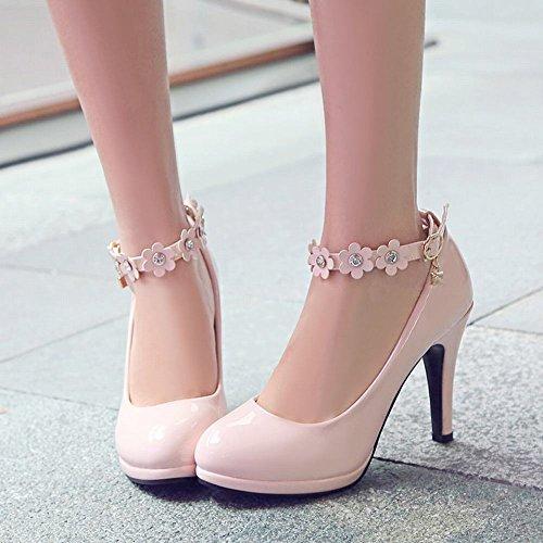 Mee Shoes Damen high heels ankle strap Blumen Pumps Pink