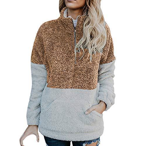 DEELIN Sweatshirt Damen Mode Frauen Velvet Langarm Reißverschluss Rollkragen Taschen Tops Pullover Bluse