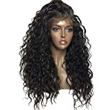 360 Lace Wig with Bbay Hair 130% Density Water Wave Human Hair Wigs with Baby Hair for Black Women Glueless Lace Front Wig with Adjustable Straps Natural Color 22 inch