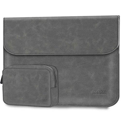 TECOOL 13 3 Zoll Laptop Hülle Tasche wasserdichte Faux Wildleder Leder Notebook Schutzhülle und Zubehörtasche für MacBook Air 13, 2013-2015 MacBook Pro 13 Retina A1502/A1425, ThinkPad X1 Carban - Grau