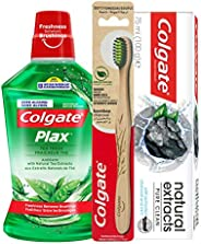 Colgate Naturals Extracts Charcoal Toothpaste, 75 ml+Plax Tea Fresh Mouthwash, 500 ml+Bamboo Toothbrush, 1 pie