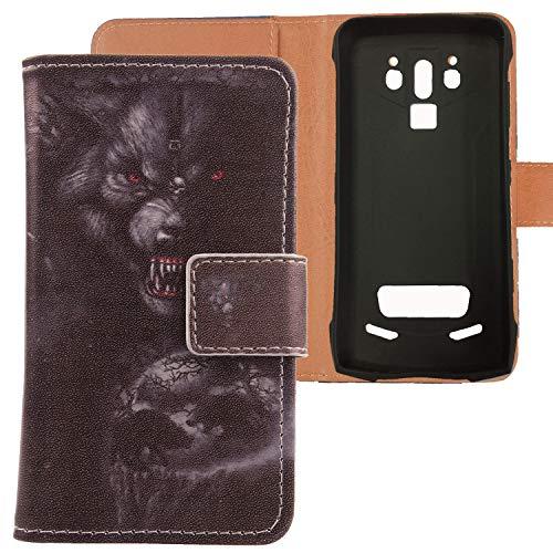 Lankashi PU Flip Leder Tasche Hülle Case Cover Handytasche Schutzhülle Etui Skin Für Doogee S90 / S90 Pro 6.18 inch (Bear Design)