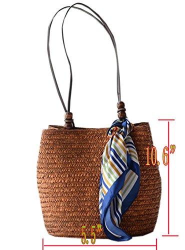 ACVIP Ragazza Vintage con Perlina di Legno Accessorio Colorata Sciarpa Borsa di Paglia Tessuto a Tracolla caffe'