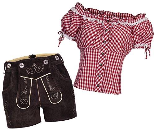Gaudi-Leathers Damen Set Lederhose k neue Länge dunkelbraun 36 + Carmenbluse Rot 34