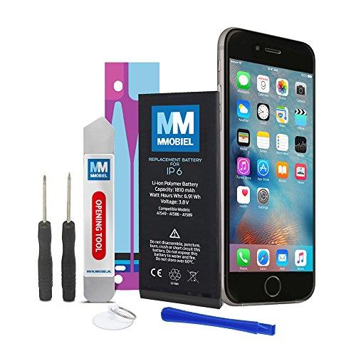 MMOBIEL Akku für iP 6 Batterie 4,3v 1810 mAh 6.9 Wh mit Anti-statischem Sticker 2 x Schraubenzieher 2 x Hebelwerkzeug und Anleitung Test