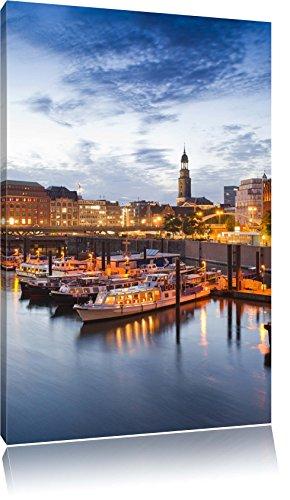 Pixxprint LFs7855_60x40 romantischer Hamburger Hafen am Abend fertig gerahmt mit Keilrahmen Kunstdruck kein Poster oder Plakat auf Leinwand, 60 x 40 cm