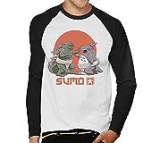 Cloud City 7 Godzilla Totoro Sumo Pop Men's Baseball Long Sleeved T-Shirt