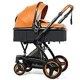 La Poussette Haute de Paysage Peut s'asseoir dans la Poussette de bébé de Choc bidirectionnelle (Color : Orange, Taille : 43 * 14 * 24 inches)
