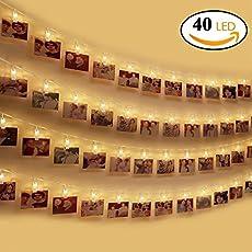 LED Foto Clip Lichterkette, otumixx LED Foto Lichterkette 40 Foto-Clips 4,2 Meter Foto Lichterketten Batteriebetriebene Warmweiß Stimmungsbeleuchtung Dekoration für Hängendes Foto Memos Kunstwerke