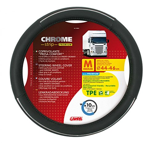 Lampa LkW-Lenkradschoner Chrome Strip Premium schwarz-chrome 44/46 cm