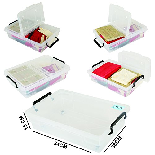 Clear Organizer Storage Basket To Store Cloths, Shoes, Toys, Books & More By Kurtzy (54 X 38 X 15 CM)