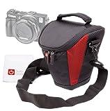 Sac de protection noir/rouge et passant de ceinture pour appareil photo Bridge Canon PowerShot G15, G16, G1X Mark II/M2 et SX700 HS + chiffon BONUS