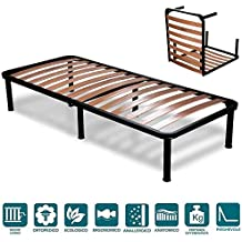 EvergreenWeb - Somier cama plegable individual 120 x 190 con somier de madera ortopédico, estructura