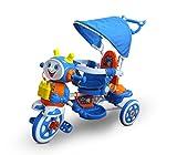 MEDIA WAVE store Triciclo a spinta AZZURRO LT813 con pedali Manu e Tomas cappottina e seduta imbottita