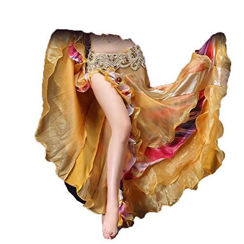 okratische sexy Kostüme Bauchtanzröcke hohe Schlitze Hüftrock Performance-Set Edler Blumenrock Gold (ohne Taillenhose) - freie Größe ()