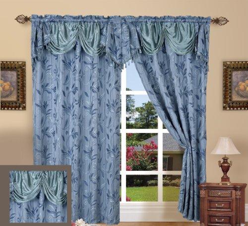 ELEGANCE Bettwäsche ® Luxus Design Jacquard Vorhang Panel Set mit attached Querbehang 139,7x 213,4cm (Set von 2), viele Farben erhältlich blau
