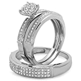 DazzlingRock Collection - Juego de Anillos de Compromiso para Hombre y Mujer de Diamante de Corte Redondo de 0,50 Quilates (1/2 Quilates, Plata de Ley)