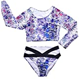 XuxMim Frauen Gepolsterte Blumendruck Sexy Langarm Bikini Beach Suit Bademode Plus Size
