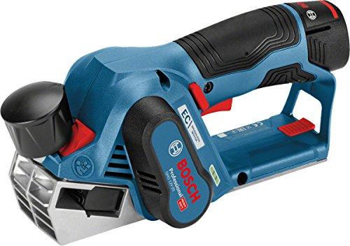 Bosch Professional Akku Hobel GHO 12V-20 (2x 3,0 Ah Akku, Ladegerät, Hobelmesser, Schraubenschlüssel, L-BOXX, 12 Volt, Schnitttiefe max. 2,0 mm, Hobelbreite max.: 56 mm, Falztiefe 17 mm)
