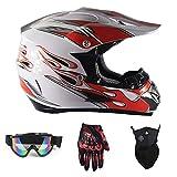 Motocross Quad Crash DH Helm DOT Certified-Full Face Off Road Downhill Dirt Bike MX ATV Motorbike Helm für Unisex,Red/White,XL(58~59cm)