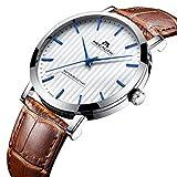 Relojes de Hombre Relojes de Pulsera Impermeable Deportivo Moda Lujo Clásico Simple Diseño Reloj de Cuero Marrón Hombres Fino Casuales Vestido Negocios Analógico con Dial Blanco