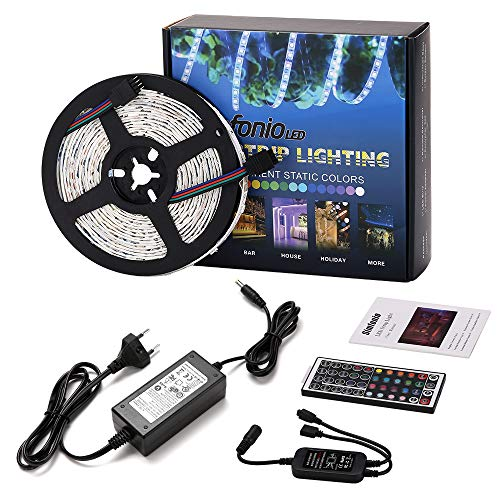 Simfonio LED Strip 5m - LED Stripes 5m 5050SMD 150 LED RGB Strip Full Kit - LED Streifen mit...