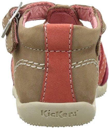 Kickers Bigfly, Chaussures Bébé marche bébé fille Beige (Beige Fuchsia Orange)