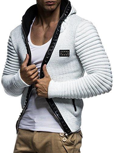 LEIF NELSON Herren Strickjacke Pullover Jacke Hoodie mit Nieten Sweatshirt Biker-Style Gesteppt Schalkragen LN5170; Gr_¤e M, Ecru-Grau