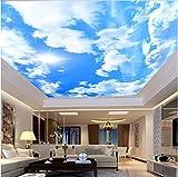 3D Murales Papel Pintado Pared Calcomanías Decoraciones Moderno Simple Cielo Azul Nubes Blancas Salón Fresco Dormitorio Adecuado Sala De Estar Decoración Del Hotel Uso Art º Chicas (W)400X(H)280Cm