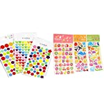 NewZC Sticker Pack of 21 Stickers for Kids Self Adhesive Stars 3D Puffy Stickers - 18 Sheets Stars/Round/Heart and 3 Sheets Animals/Fishes/Fruit Coding Label for Scrapbook