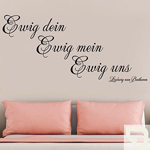 DESIGNSCAPE® Wandtattoo Ewig dein Ewig mein Ewig uns - Ludwig van Beethoven Zitat 180 x 85 cm (Breite x Höhe) creme DW802172-L-F102 (Creme-vans)
