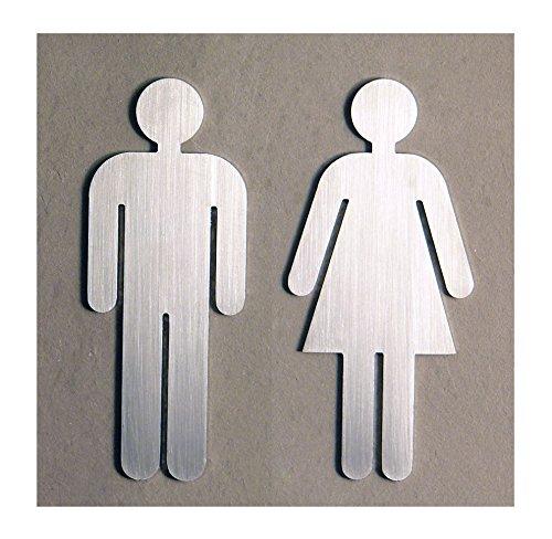 "Türschild Set ""Frau+Mann"" Toilettenschild, je 1 Stk. MATT Edelstahl gebürstet - Höhe 11,5 cm - MADE IN GERMANY"