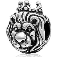 Re Leone Charm - Argento Perle Animal - Argento 925 - Idea Regalo - Nonna Bracciale Perle D'argento Bracciale Perle