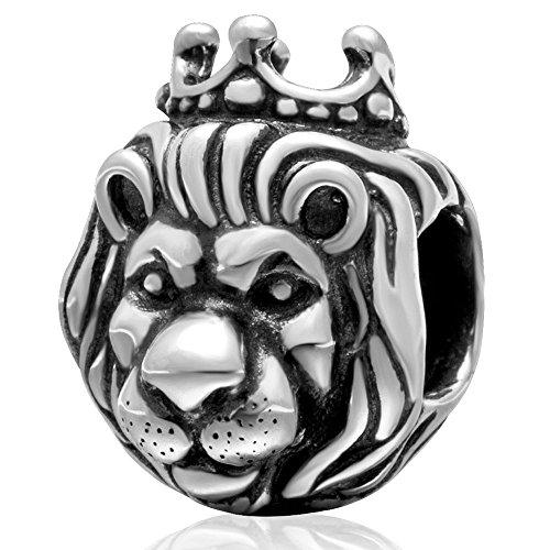 Re Leone charm in argento Sterling 925, adatto a braccialetti, compatibile con