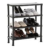 IDIMEX Schuhregal Schuhständer TRIEST, Schuhablage Regal aus Kunstoff mit 4 Böden in schwarz