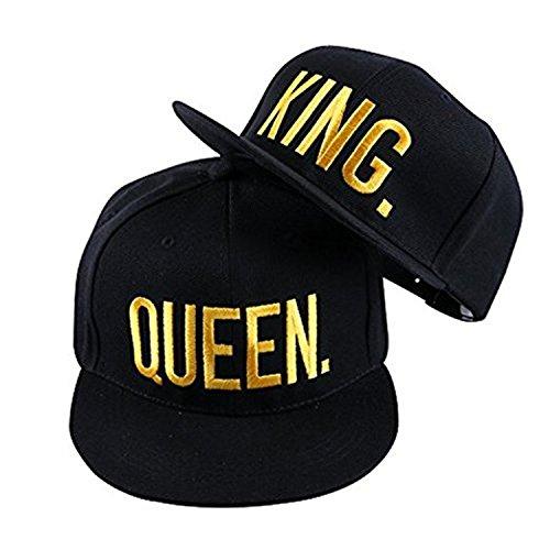 *JIAJIA YL Baseballmütze Für Liebhaber Paare Bestickte Rapper Cap -Snapback King/Queen (Verschiedene Farben verfügbar) 2 Stück (Glod)*