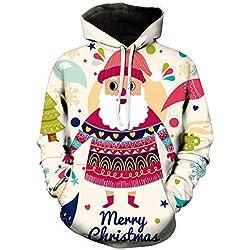 Mymyguoe Jacke Herren Weihnachten Kapuzenpulli 3D Printed Christmas Pullover Langarm Kapuzenpulli Tops Bluse Freizeitjacke Sweatjacke Pullover Sweatshirt
