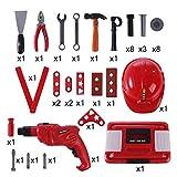Giplar 40 Stücke Set Werkzeugkoffer Kinder Rollenspiel Spielzeug Werkzeugkoffer Reparaturwerkzeug für Kinder