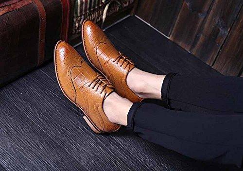 Uomini Britannico Nuovo Derby Scarpe Brogue Attività Commerciale Vestito Scarpe Moda Basso Nozze Scarpe Brown