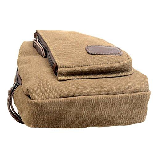 Vovotrade® tela squilibrio zaino sacchetto della cassa spalla crossbody (Caffè) Cachi
